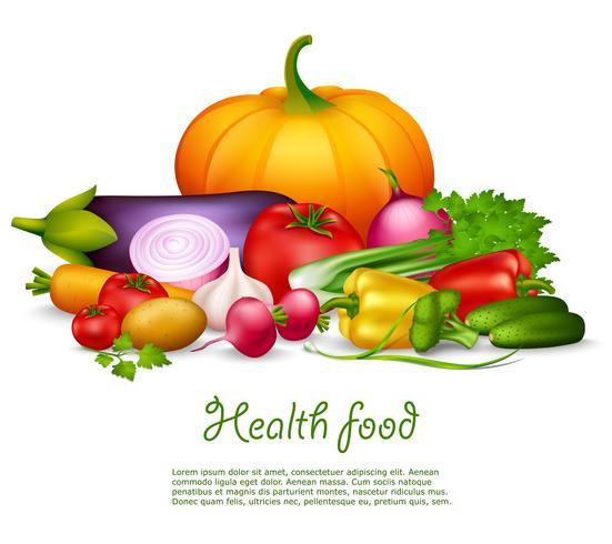 Concepto de diseño de alimentos de salud vegetal vector