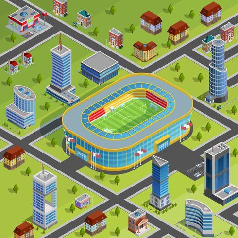 Affiche isométrique de ville de stade de sport