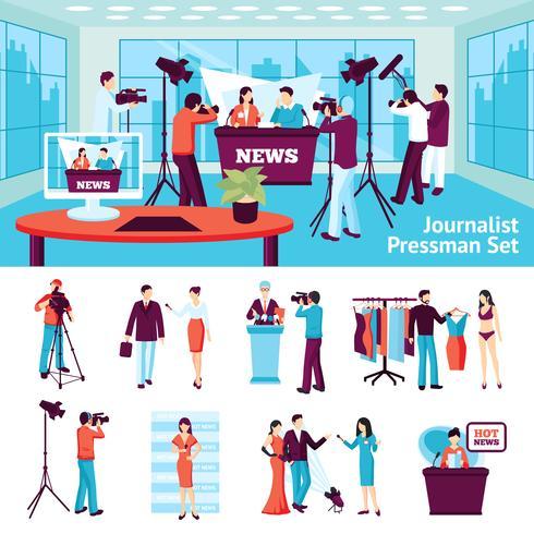Periodista y conjunto de pressman vector