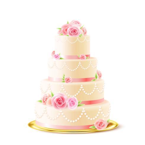 Klassische Hochzeitstorte mit Rosen realistisch
