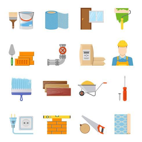 Bouwmaterialen Icons Set