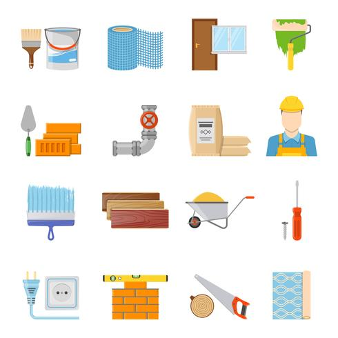 Set di icone di materiali da costruzione