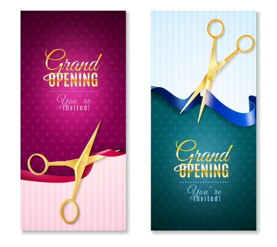 Grand Opening Vertical Banners Set  vector
