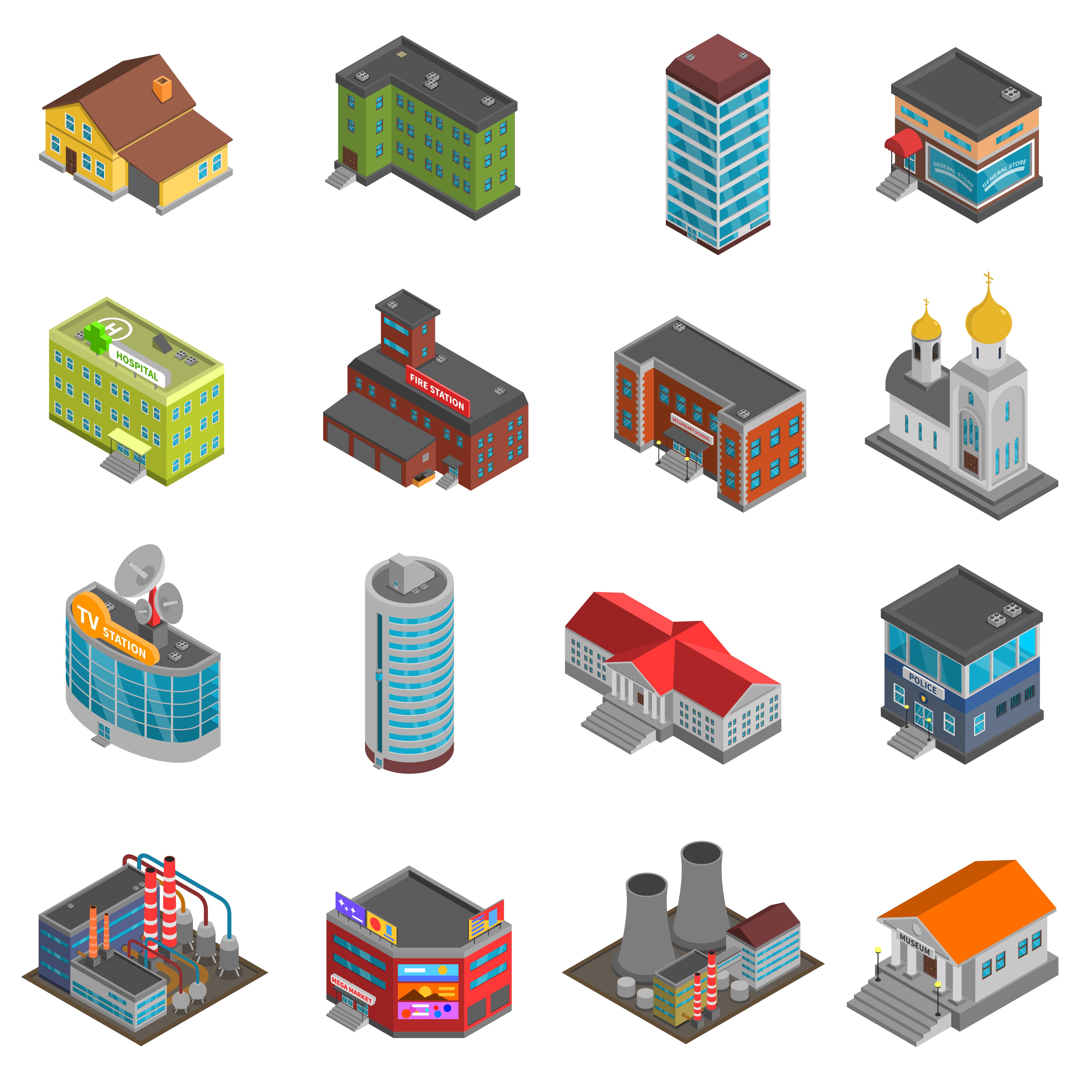 City Buildings Isometric Icons Set - Download Free Vectors, Clipart Graphics & Vector Art