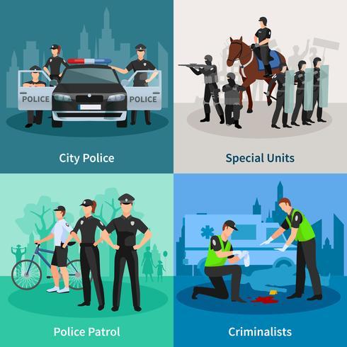 Concepto de diseño plano 2x2 de la gente de policía