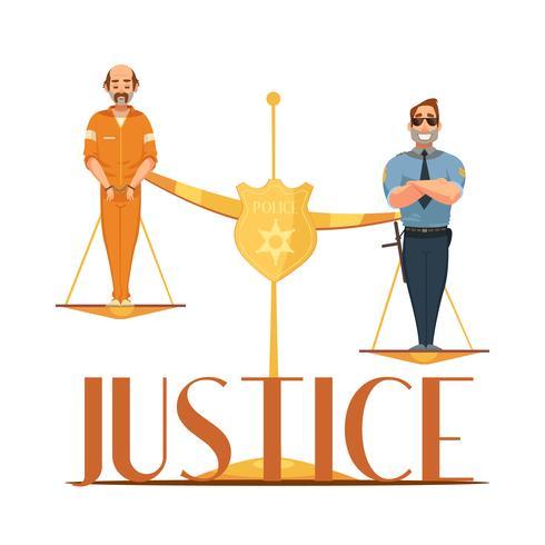 Giustizia Retro Cartoon Composition Poster di legge vettore