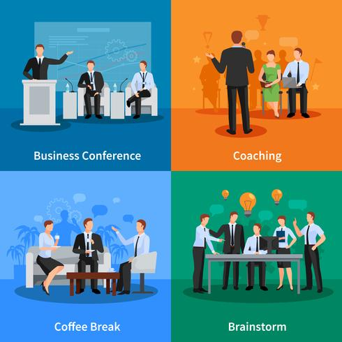 Business Meeting Concept Icons Set vecteur