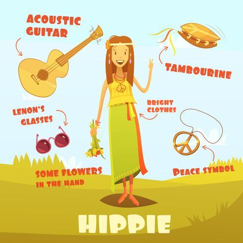 Hippie Karaktär Illustration vektor