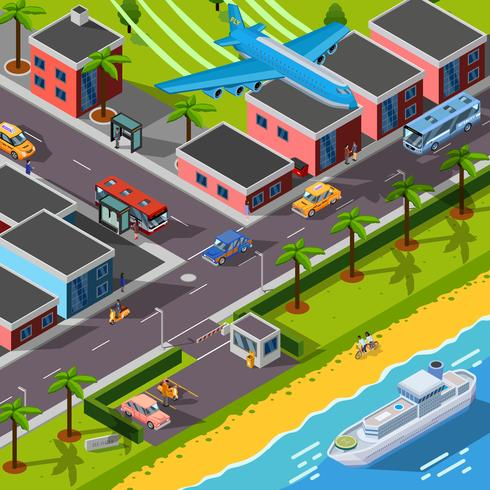Isometric Top View Transport Concept vector