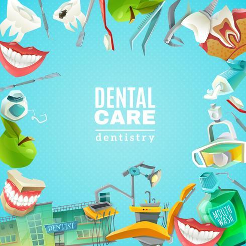 Cartel de fondo de marco plano de cuidado dental vector