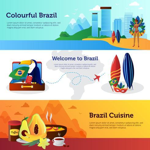 Brazil Travel Flat Horizontal Banners Set vector