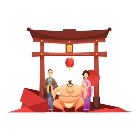 Japanse cultuur retro samenstelling met pagode