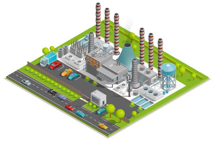 Conceito isométrico de fábrica de produtos químicos