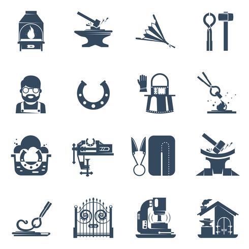 Forgeron Noir Icons Set vecteur