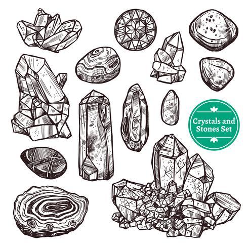 Conjunto de cristais e pedras vetor