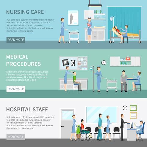 Bannières horizontales sur les soins de santé pour infirmières