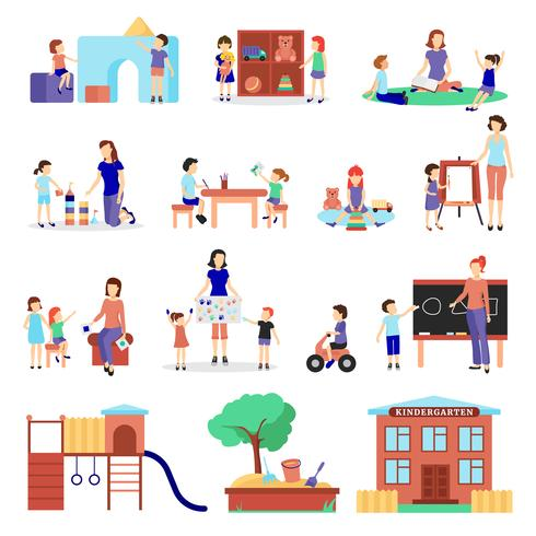 Conjunto de ícones de jardim de infância