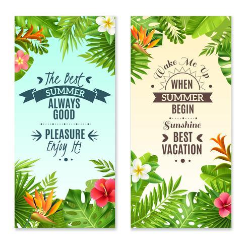 Plantes tropicales 2 bannières de vacances colorées