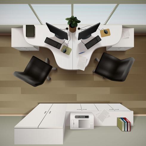 Illustrazione di vista superiore interno dell'ufficio