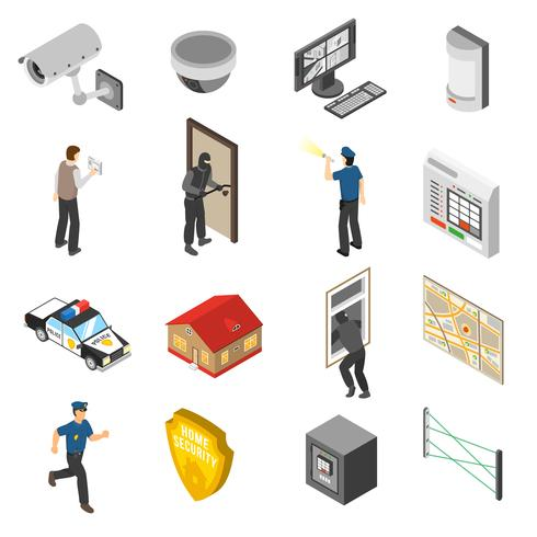 Home Security Service Isometric Icons Set  vector