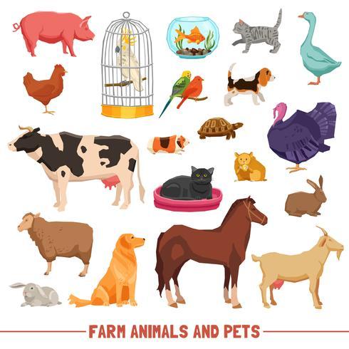 Conjunto de animales y mascotas de granja vector