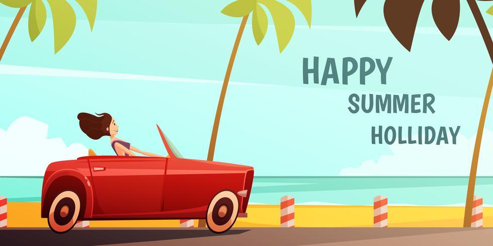 Cartel retro de las vacaciones de las vacaciones de verano del coche