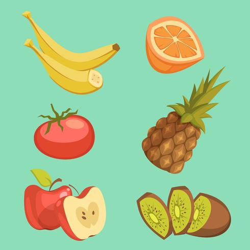 Conjunto de desenhos animados de comida saudável