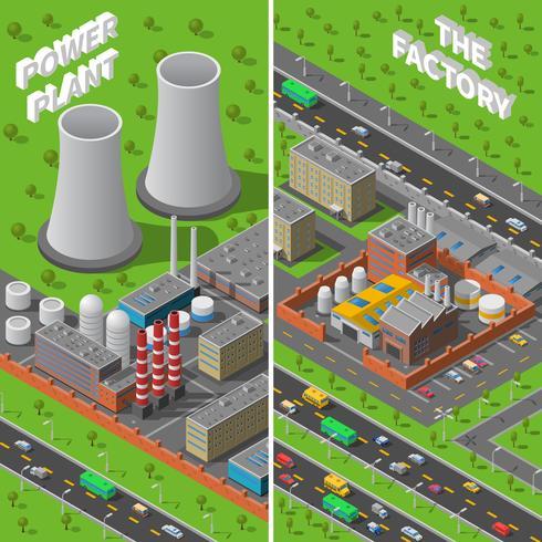 Industrielle isometrische vertikale Fahnen der Fabrik