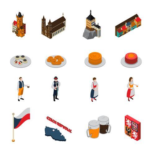 Coleção de ícones isométrica de símbolos de República Checa