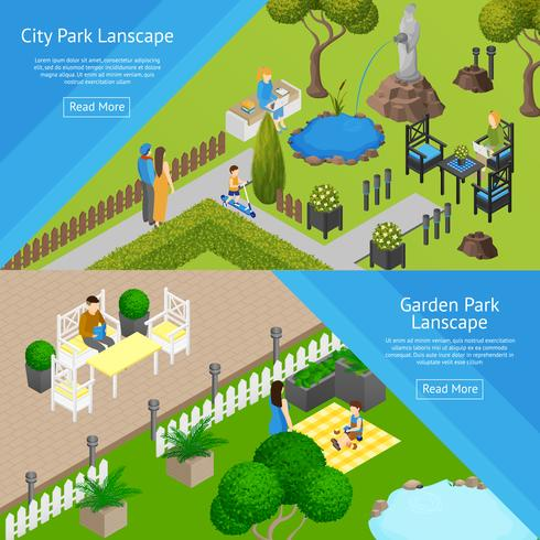 Banners de paisagem de parque de jardim vetor