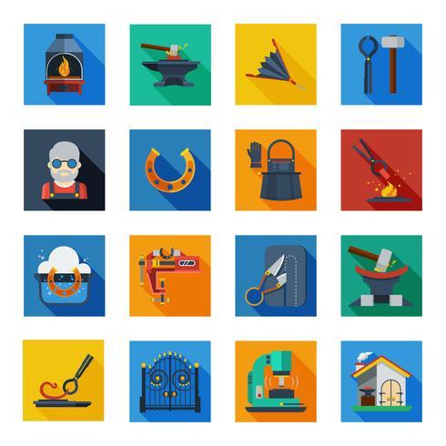 Icônes de forgeron dans les carrés colorés vecteur