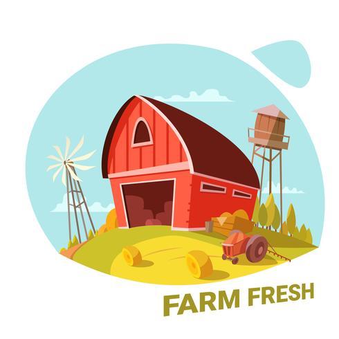 Bauernhof und Konzept der frischen Produkte
