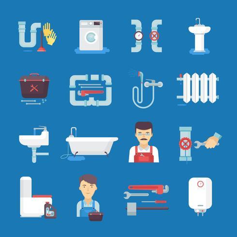 Collection d'icônes de plomberie à fond bleu
