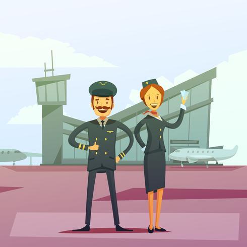 Ilustración de piloto y azafata vector