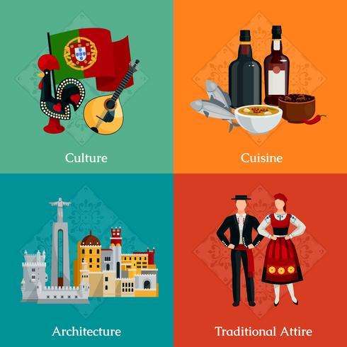 Conjunto de iconos planos de Portugal 2x2