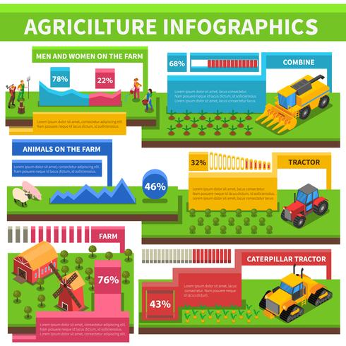 Agricultura agricultura infográfico isométrica Poster