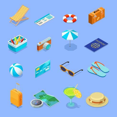 Reisaccessoires Isometrische Icons Set vector