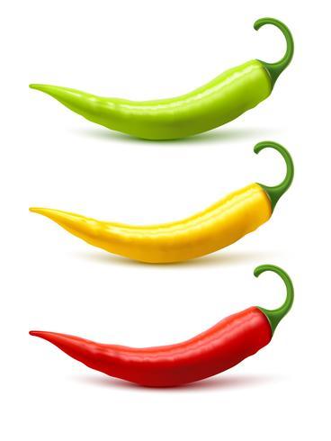 Chili Pepper Pods definir sombra realista