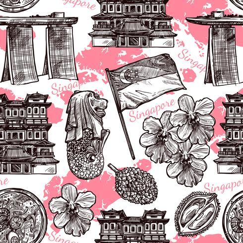 Singapore Hand Drawn Sketch Seamless Pattern