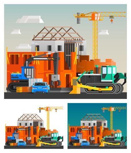 Conjunto de composições de construção e máquinas