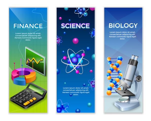 Set di banner verticali di scienza vettore
