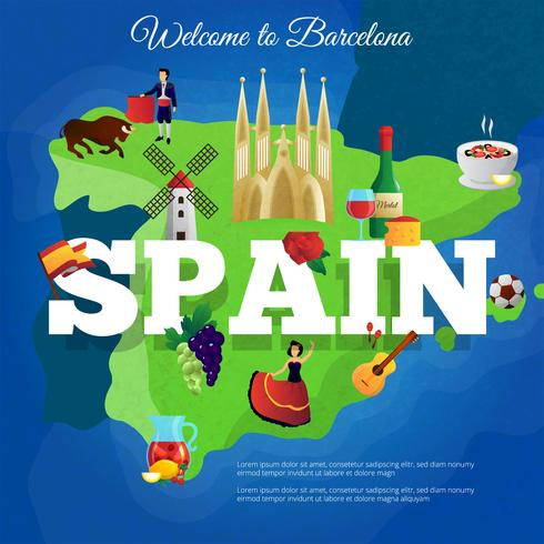Spain Travel Flat Symbols Composition Poster