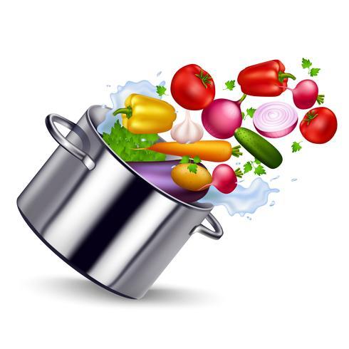Verduras frescas en sartén de metal