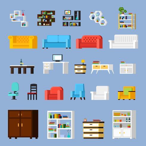 Conjunto de ícones de elementos interiores vetor