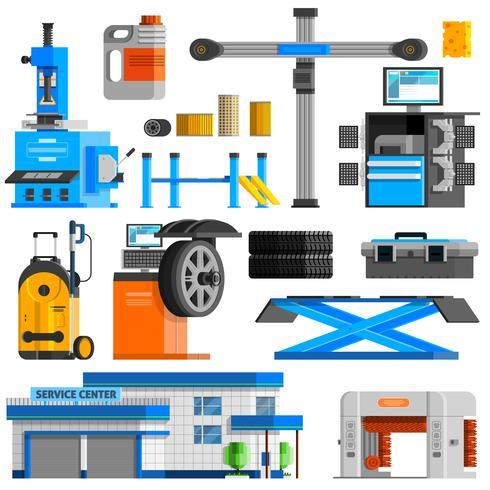 Conjunto de iconos decorativos planos de auto servicio vector