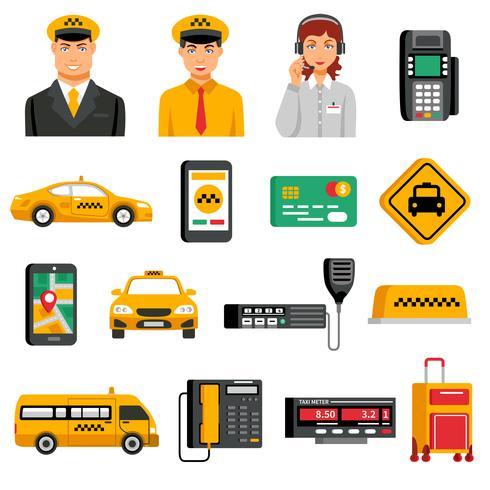 Conjunto de iconos de servicio de taxi vector