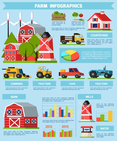 Farm Orthogonal Flat Infographics vector