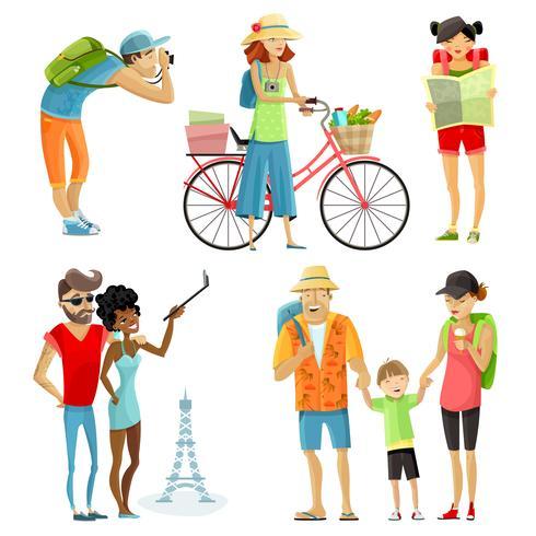 Conjunto de desenhos animados de pessoas viajando
