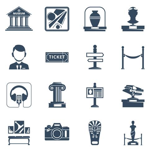 museum platte zwarte pictogramserie