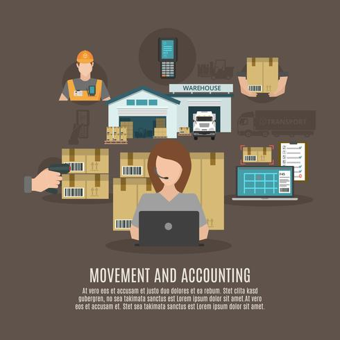 Cartaz de ícones plana de conceito de instalações de armazém